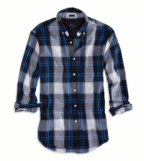 Blue Black AEO Factory Printed Button Down Shirt
