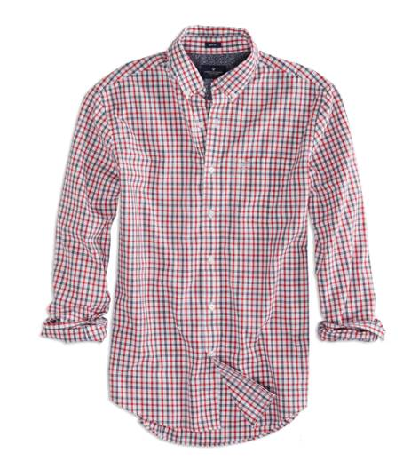 Coral AEO Factory Printed Button Down Shirt