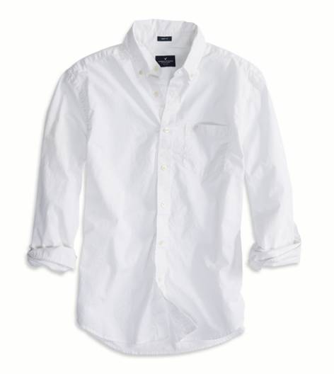 White  AEO Factory Solid Button Down Shirt