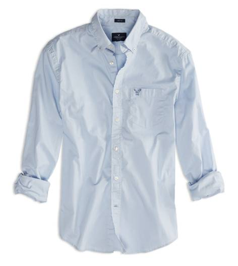 Ice Blue AEO Factory Solid Button Down Shirt