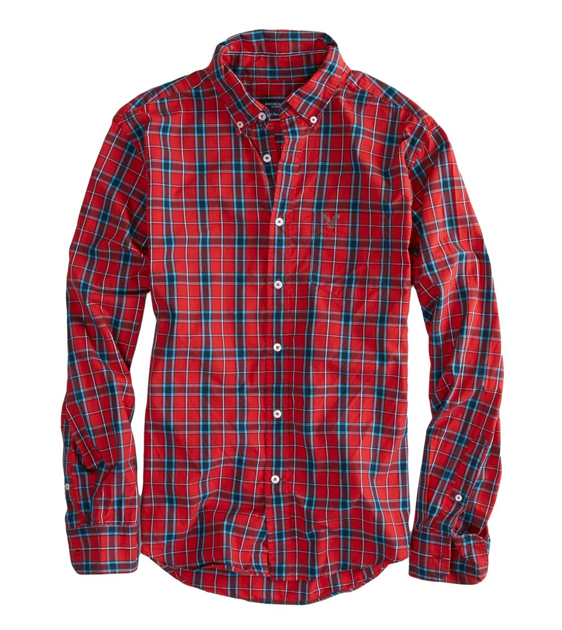 Jingle Red AEO Factory Plaid Button Down Shirt