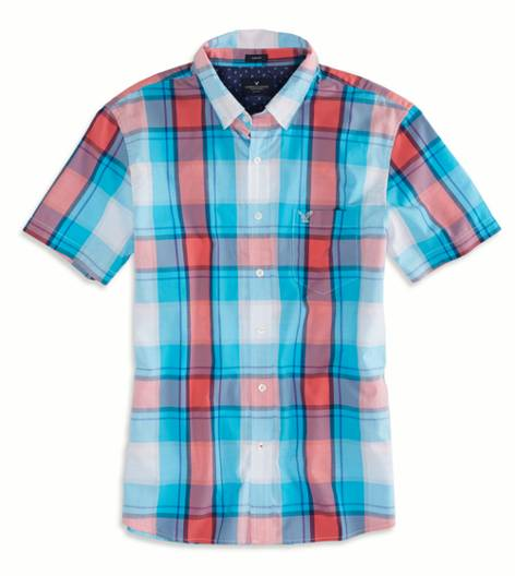 Tidal Blue AEO Factory Printed Short Sleeve Button Down Shirt