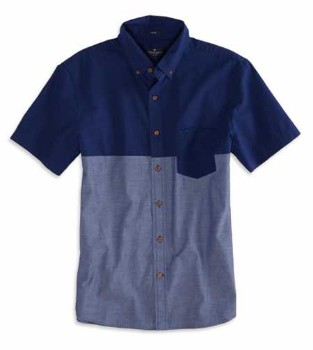 AEO Factory Printed Short Sleeve Button Down Shirt