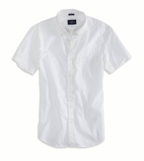 White  AEO Factory Short Sleeve Button Down Shirt