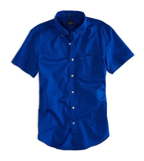 Dream Blue AEO Factory Short Sleeve Button Down Shirt