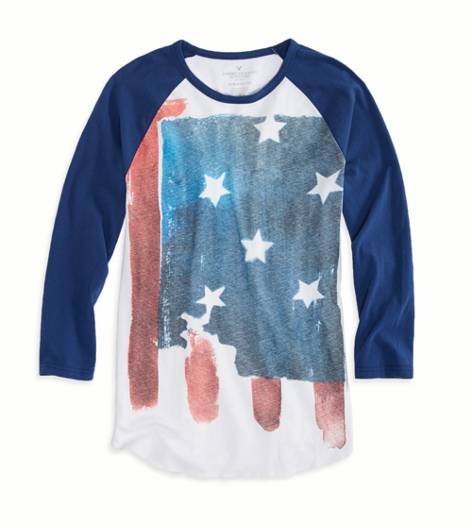 Petal Blue AEO Factory Photo Real Baseball T-Shirt