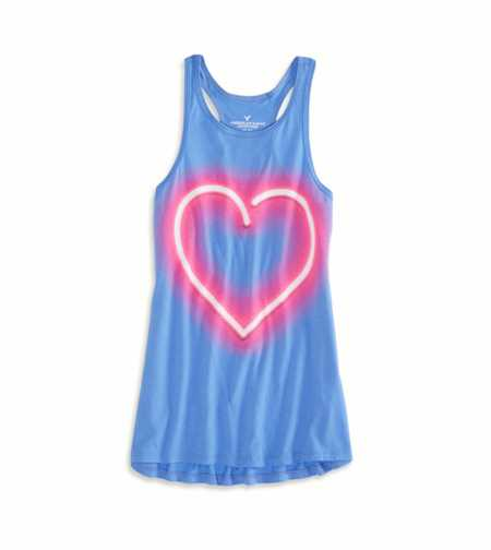 AEO Factory Neon Heart Graphic Tank