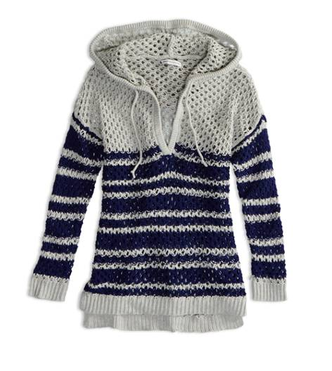 Evening Blue AEO Factory Open Knit Sweater Hoodie