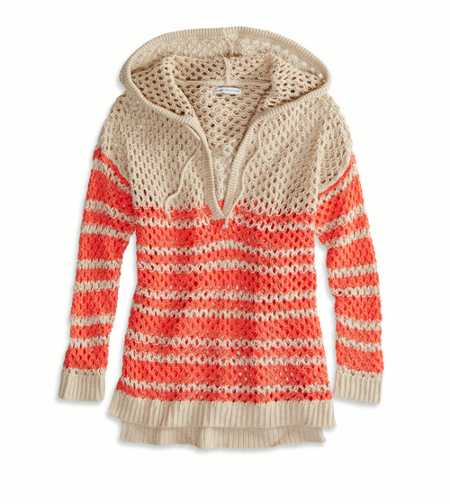 AEO Factory Open Knit Sweater Hoodie