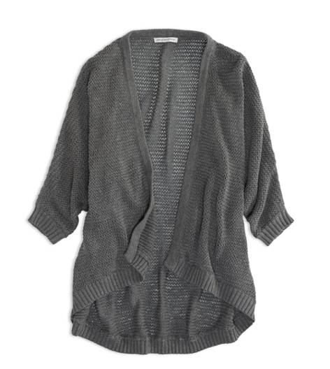 Medium Heather Grey AEO Factory Open Dolman Sweater