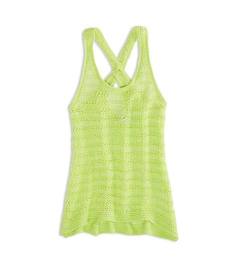 Deep Neon Yellow AEO Factory Crossback Sweater Tank