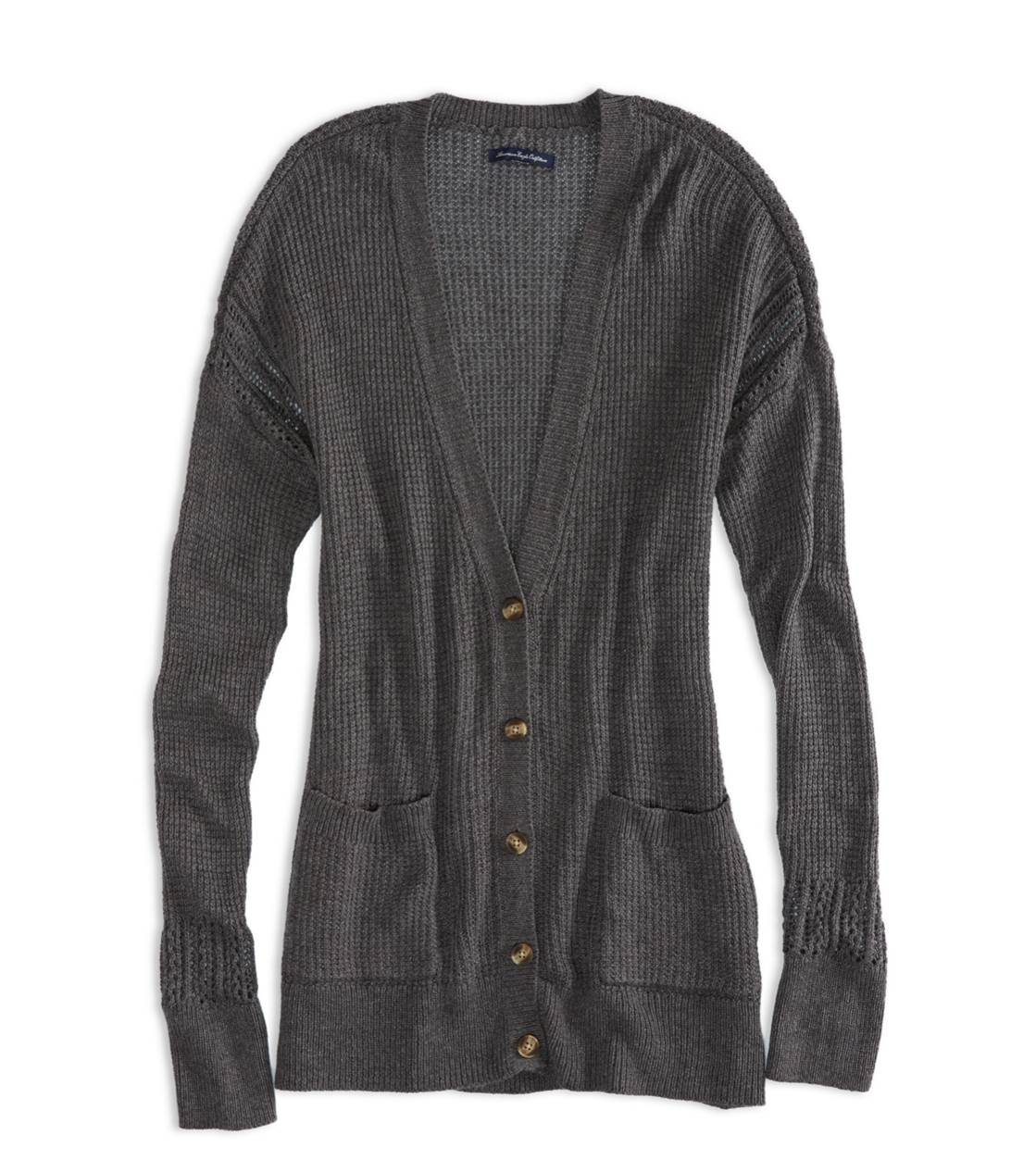 Charcoal Heather Grey AEO Factory Knit Boyfriend Sweater