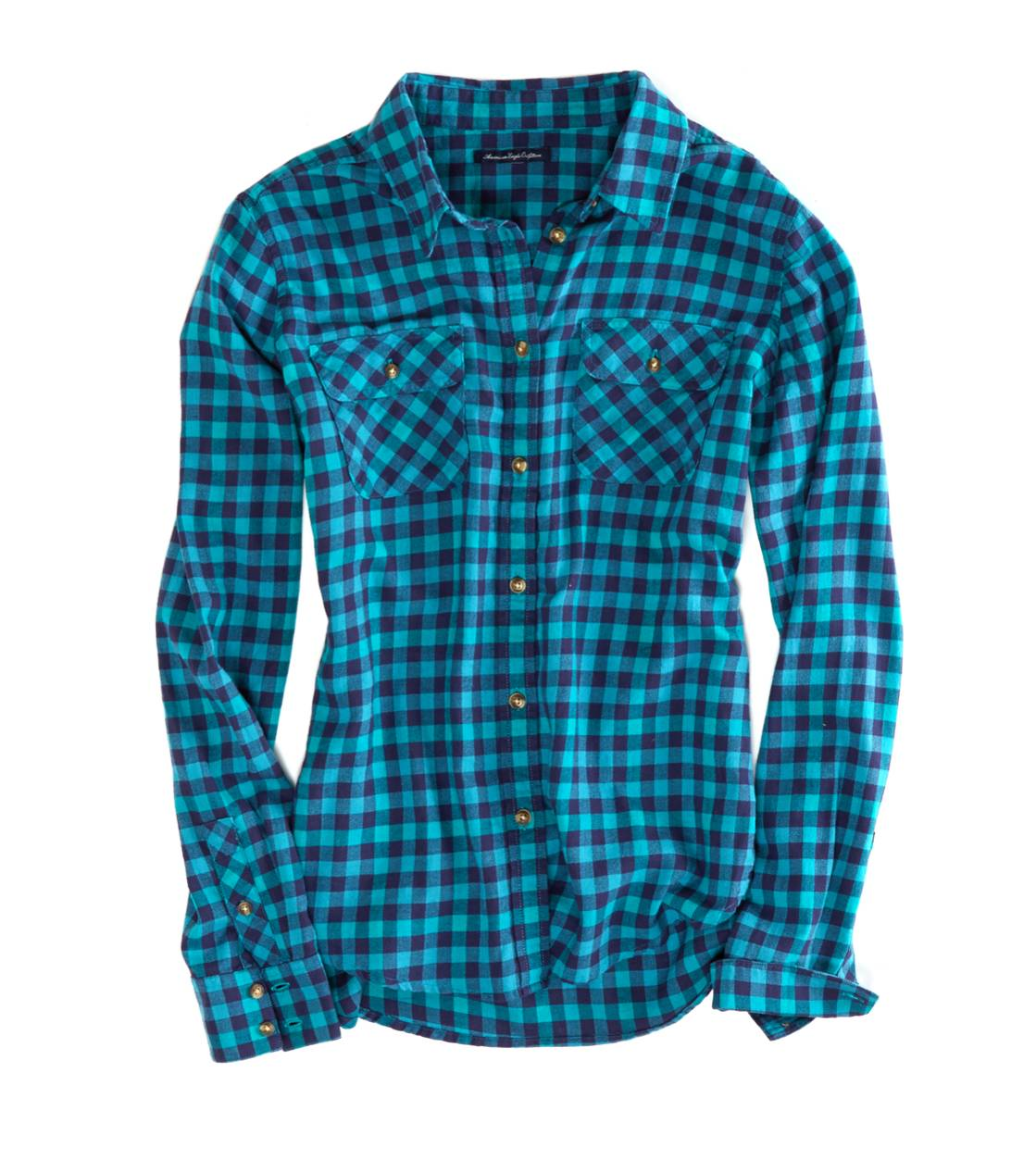 Teal Water AEO Factory Girlfriend Flannel
