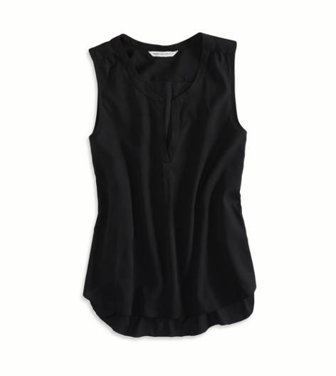 True Black AEO Factory Sleeveless Chiffon Top