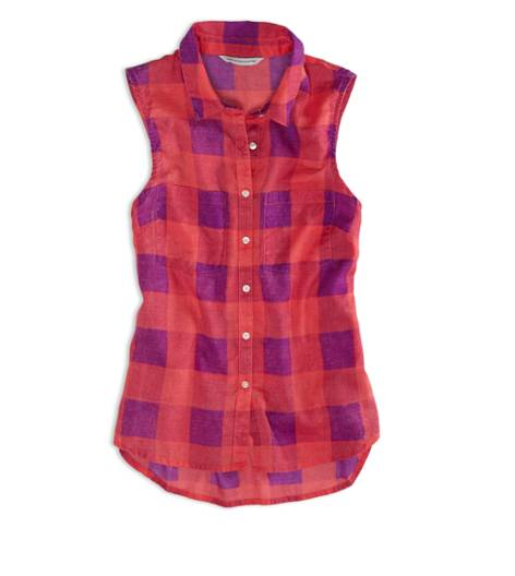 Fuchsia Pink AEO Factory Sleeveless Plaid Shirt