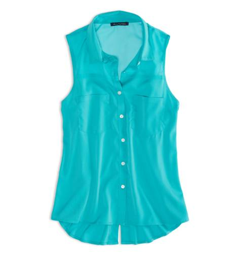 Tropical Teal AEO Factory Sleeveless Chiffon Button Down