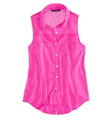 Galaxy Neon Pink AEO Factory Sleeveless Chiffon Button Down