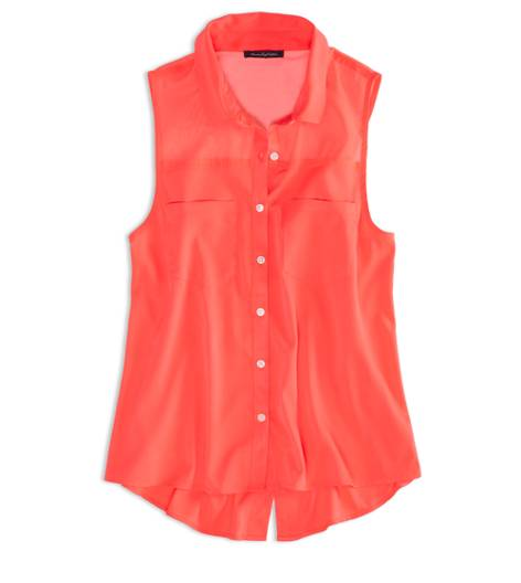 Cherry Pop AEO Factory Sleeveless Chiffon Button Down