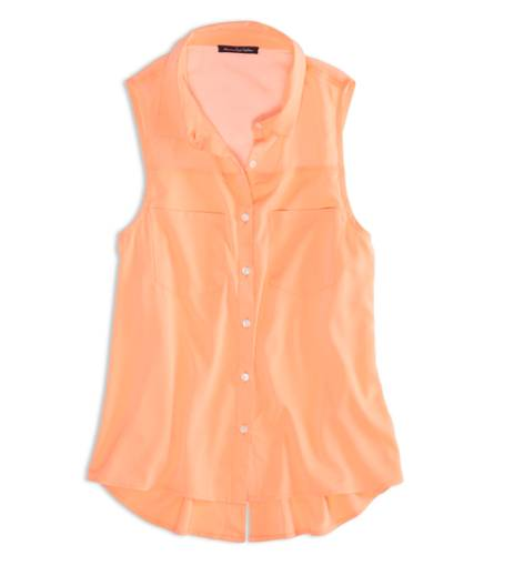 Neon Tangerine AEO Factory Sleeveless Chiffon Button Down