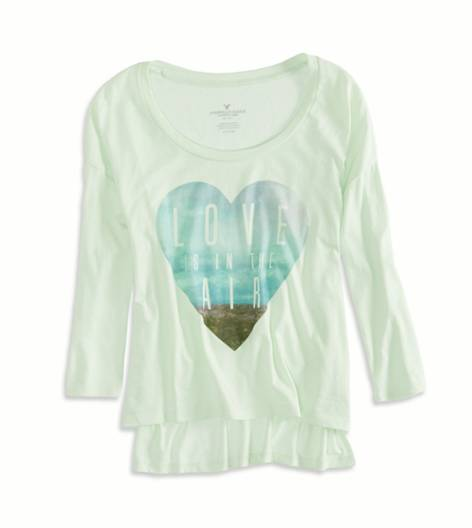 Pistachio Cream AEO Factory Long Sleeve Graphic T-Shirt