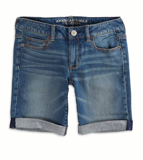 Medium Wash AEO Factory Denim Skinny Bermuda Short