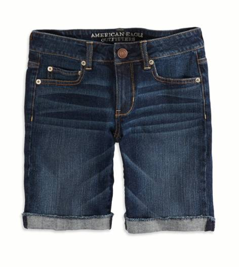Dark Wash AEO Factory Denim Skinny Bermuda Short