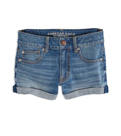Medium Wash AEO Factory Hi-Rise Denim Shortie