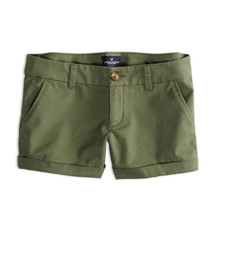 Burnt Olive AEO Factory Midi Short