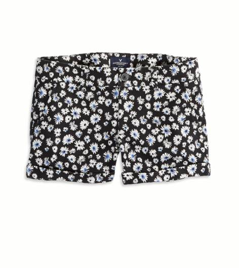 Black Daisy AEO Factory Patterned Midi Short