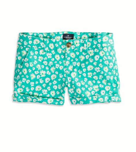 Green AEO Factory Patterned Midi Short
