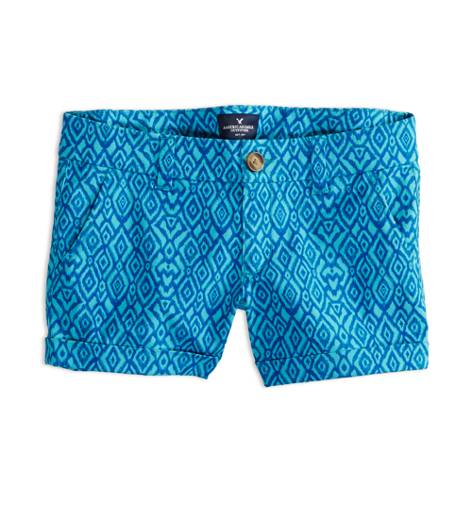 Turquoise AEO Factory Patterned Midi Short