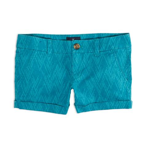 Teal AEO Factory Patterned Midi Short