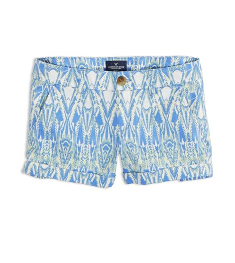 Neon Blue AEO Factory Patterned Midi Short