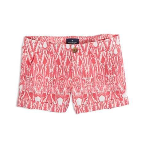 Pink AEO Factory Patterned Midi Short