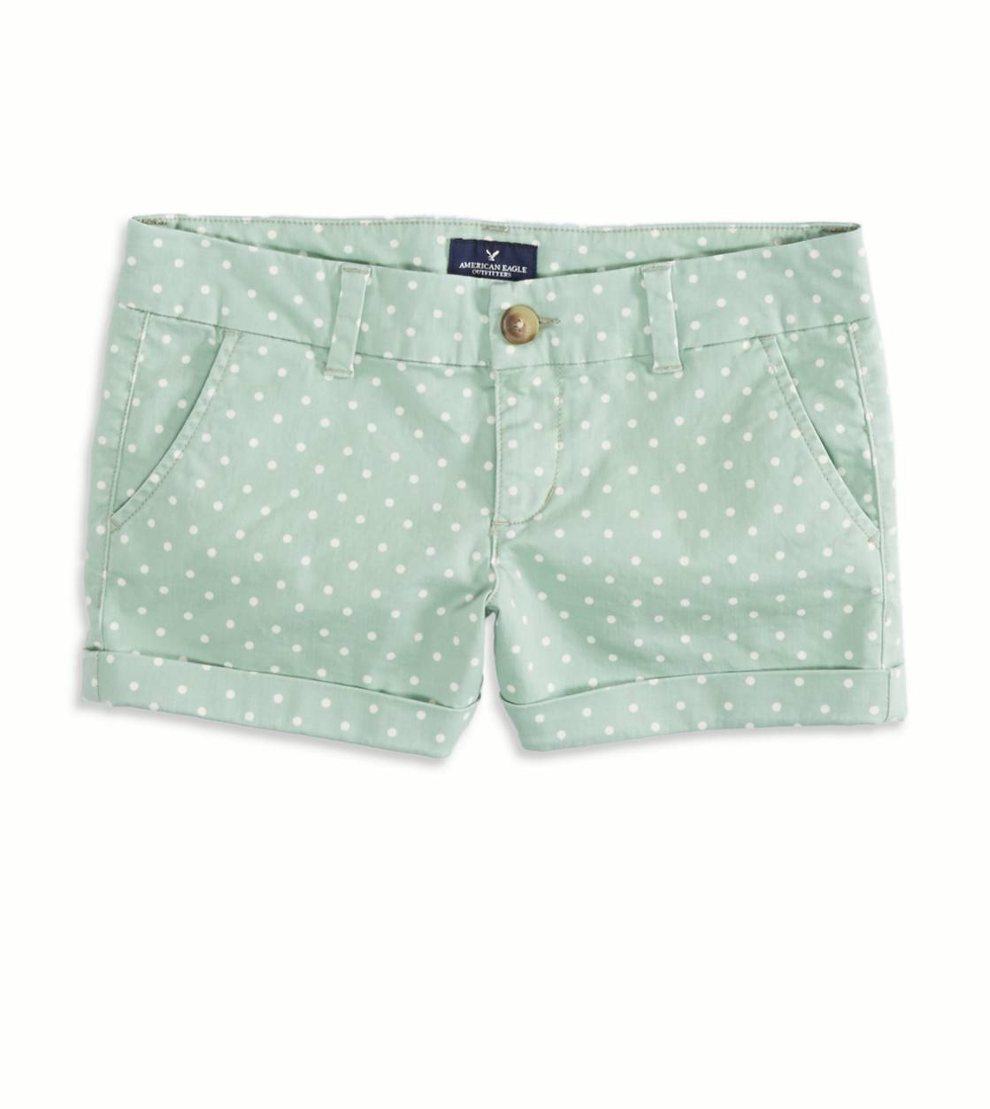 Seafoam AEO Factory Patterned Midi Short