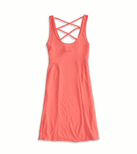 Knockout Pink AEO Factory Strappy Back Dress