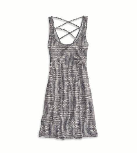Black AEO Factory Printed Strappy Back Dress