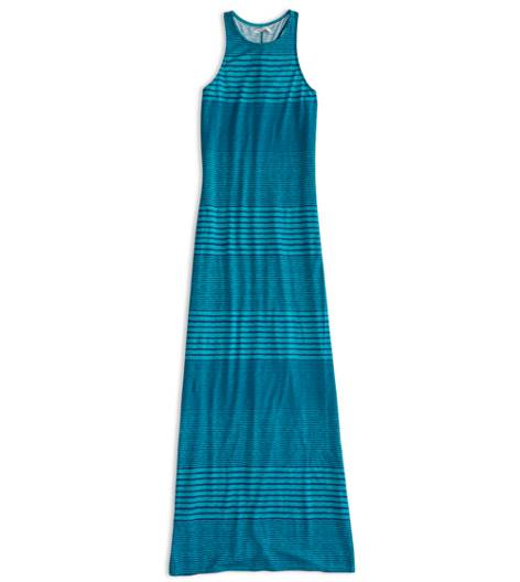 Green AEO Factory Striped Racerback Maxi Dress