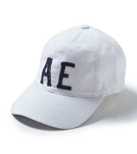 White  AEO Factory Applique Fitted Baseball Cap