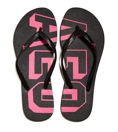True Black AEO Factory Graphic Flip Flop