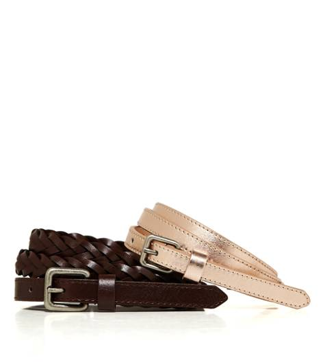 Rose Gold AEO Factory Skinny Belt Duo