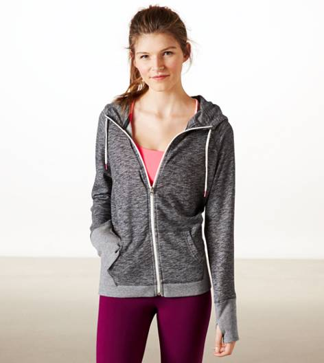 Charcoal AEO Performance Full Zip Hoodie