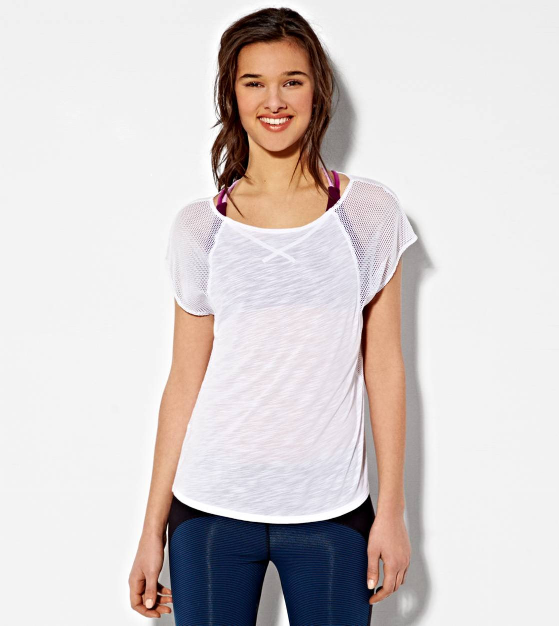 White  AE Mesh Sleeve T-Shirt
