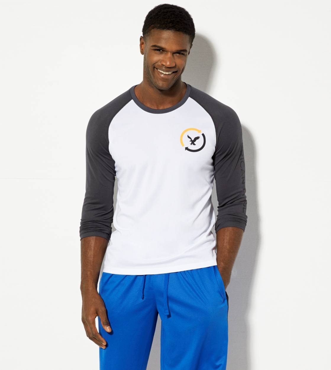 White  AEO Performance Long Sleeve T-Shirt