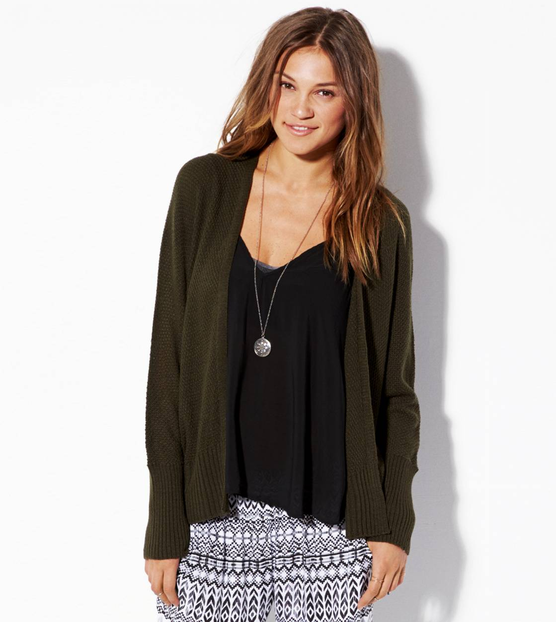 Olive Open Cardigan Made In Italy By AEO
