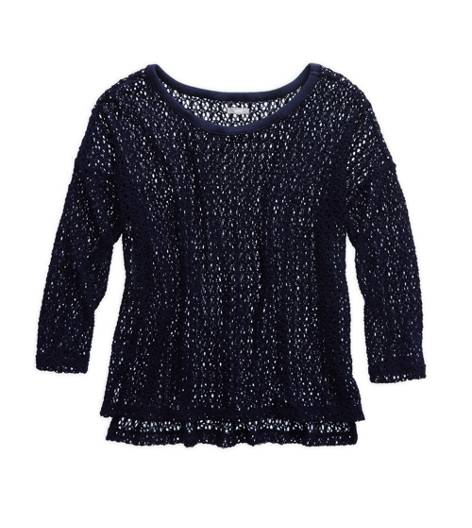 Royal Navy Aerie Open-Knit Crochet Sweater