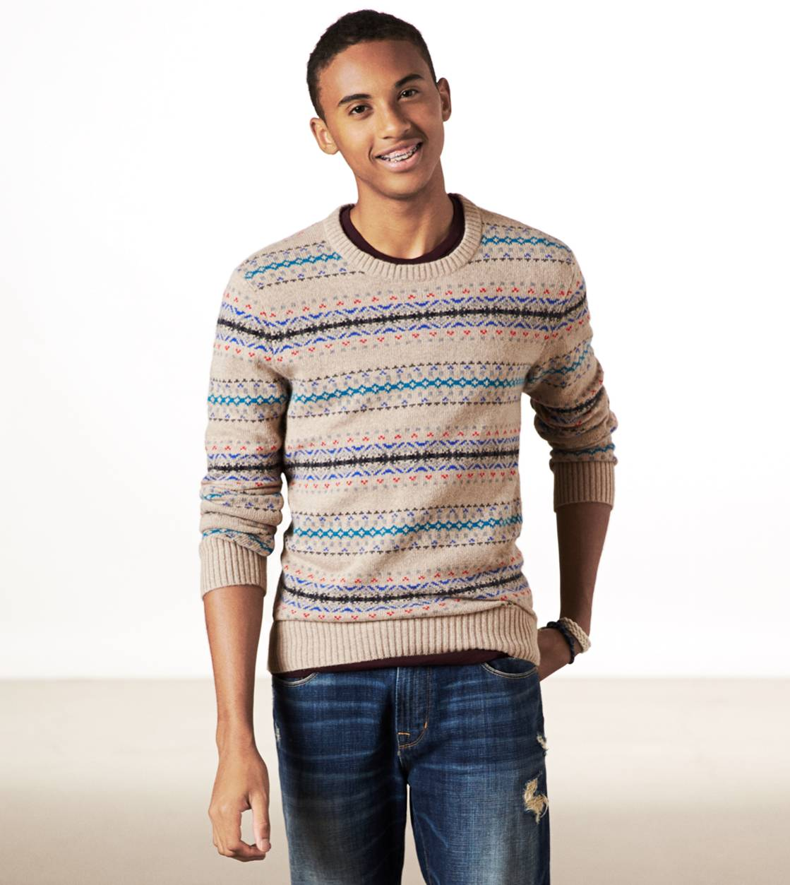 Oatmeal AE Fair Isle Sweater