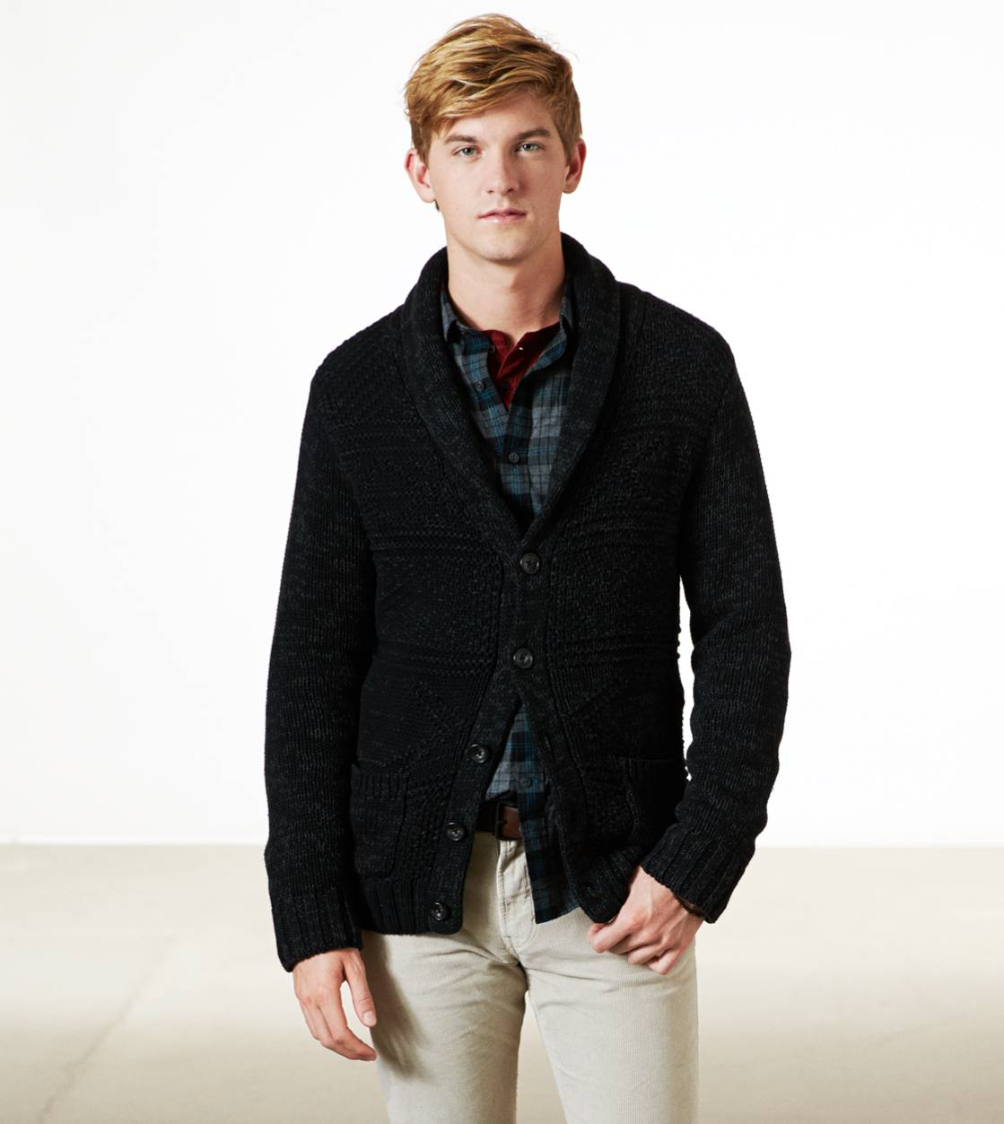 Charcoal AE Knit Elbow Patch Cardigan