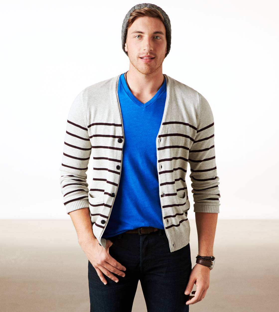 Khaki AE Striped Cardigan