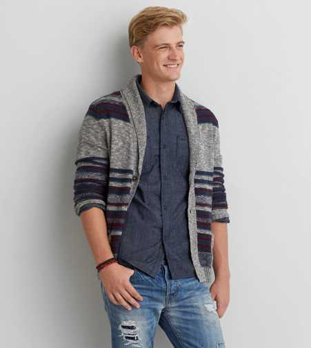 AEO Striped Shawl Cardigan